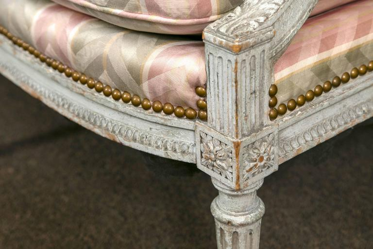 Paint Decorated Frame Louis XVI Style Settee attributed to Jansen Detailed Sofa For Sale 1