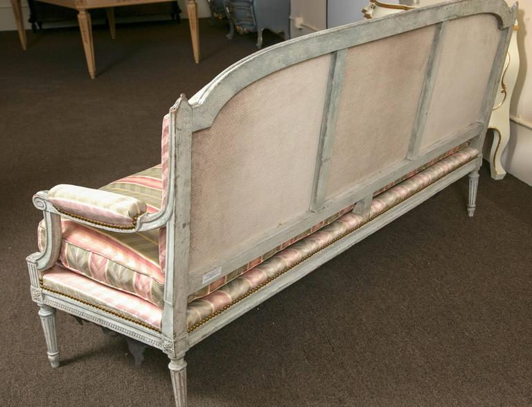 Paint Decorated Frame Louis XVI Style Settee attributed to Jansen Detailed Sofa For Sale 2