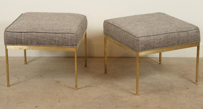 Square Brass Ottoman by Lawson-Fenning. 