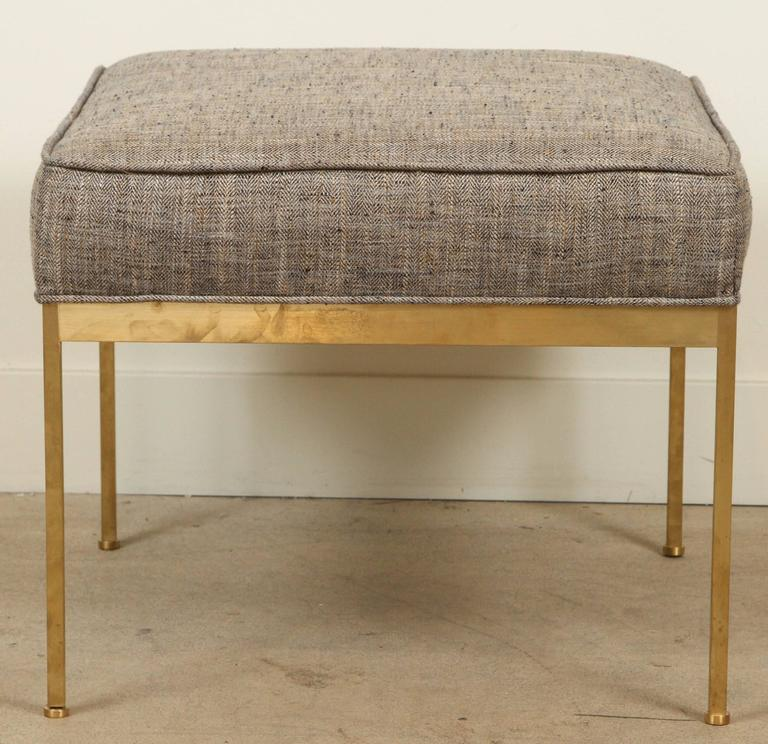 Mid-Century Modern Square Brass Ottoman by Lawson-Fenning For Sale