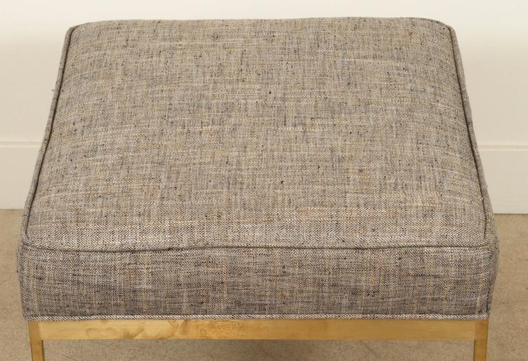 American Square Brass Ottoman by Lawson-Fenning For Sale