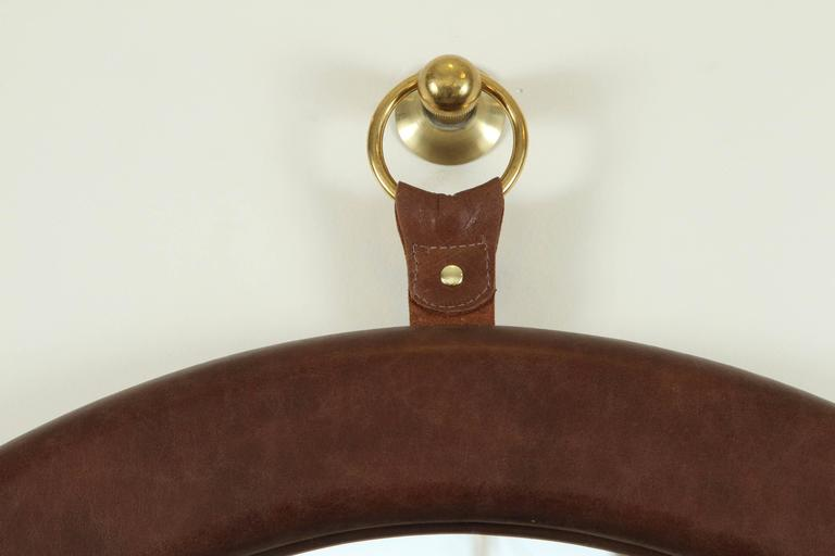 Leather Oval Mirror by Jason Koharik for Collected by  2