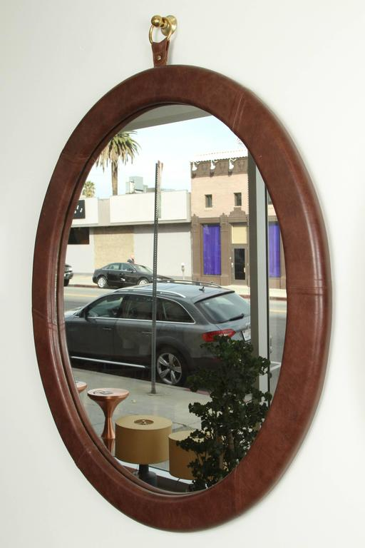 Leather Oval Mirror by Jason Koharik for Collected by  5