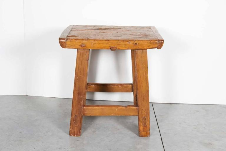 Early 20th Century Large Rustic Stool/ Side Table For Sale