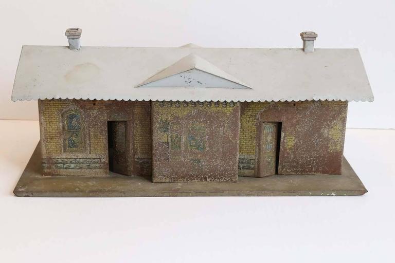 Hand-Painted Vintage Miniature Train Depot For Sale
