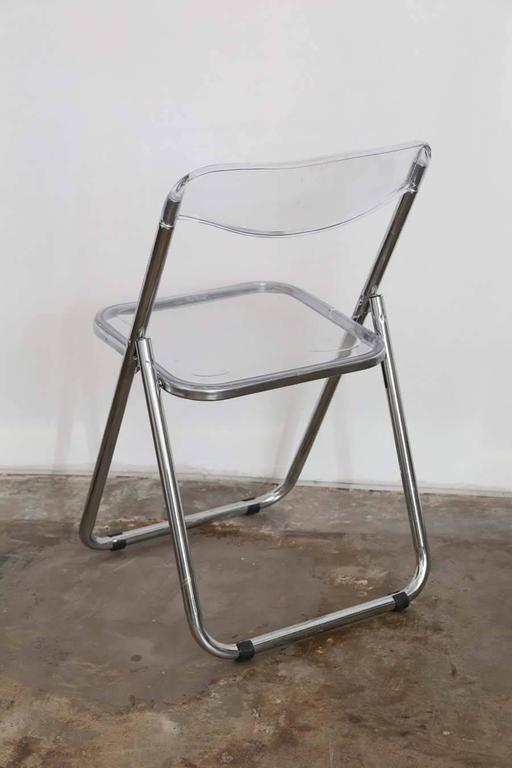 Mid-Century Modern Set of Six Mid Century Modern Lucite & Chrome Folding Chairs For Sale