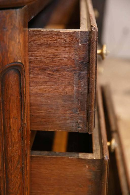 Large 18th Century French Oak Commode Chest of Drawers w/ Brass Detail For Sale 1