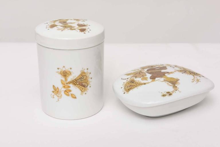 Lidded Box and Canister Dresser Set by Bjorn Wiinblad for Rosenthal For Sale 1