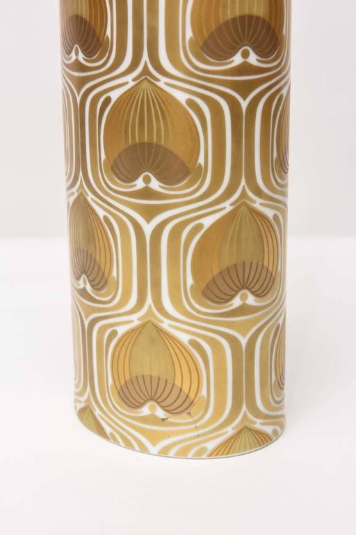 German 1970s Porcelain Cylinder Vase by Bjorn Wiinblad for Rosenthal For Sale