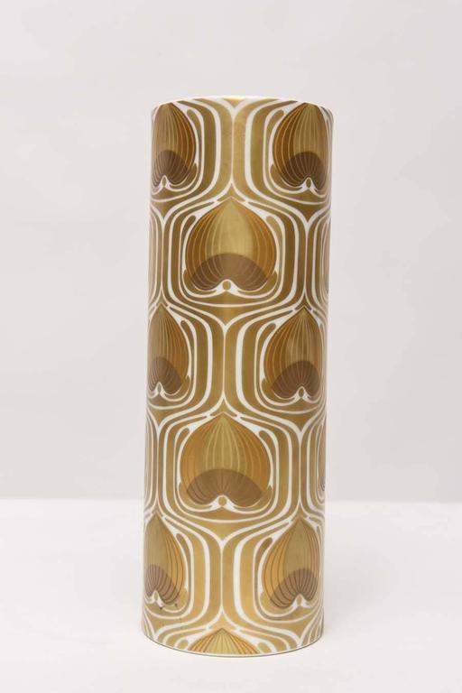 Enameled 1970s Porcelain Cylinder Vase by Bjorn Wiinblad for Rosenthal For Sale