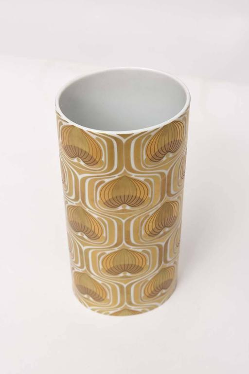Late 20th Century 1970s Porcelain Cylinder Vase by Bjorn Wiinblad for Rosenthal For Sale
