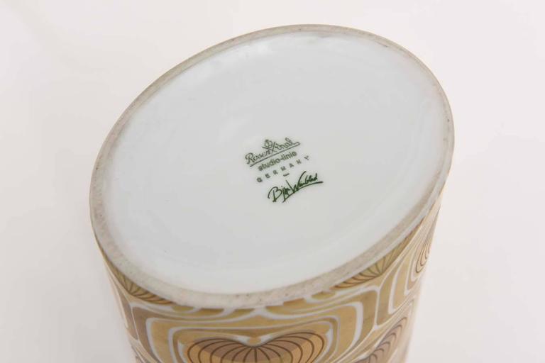 1970s Porcelain Cylinder Vase by Bjorn Wiinblad for Rosenthal For Sale 1