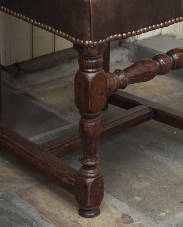 Pair of 17th Century Leather and Walnut Side Chairs For Sale 1