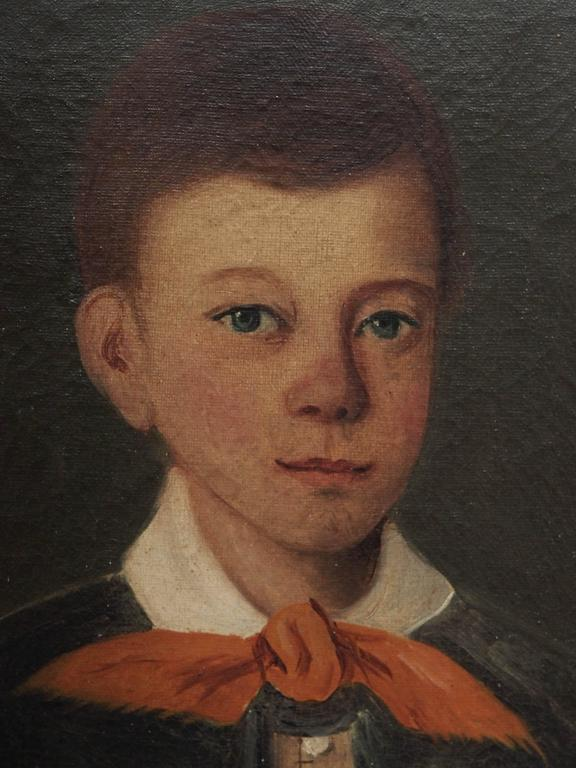 An oil on canvas portrait of a boy painted in France during the 1830s. Measures: 18.5 x 15.