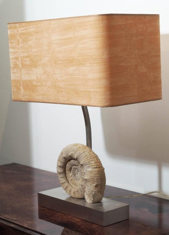 20th Century Pair of Limestone Nautilus Shell Table Lamps For Sale