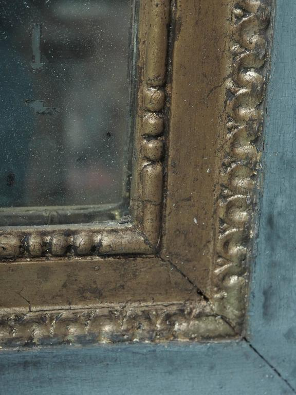 Framed Pair of Gilded and Painted Louis XVI Mirrors In Good Condition For Sale In New Orleans, LA