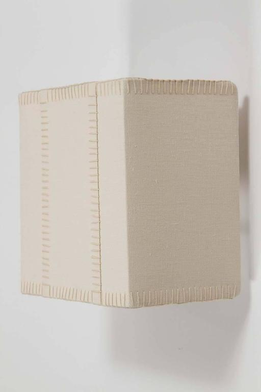 Hand-Stitched Laced Linen Shaded Wall Sconce 8