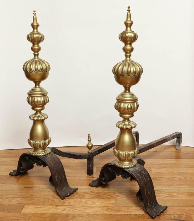 Pair of bronze dutch baroque style andirons for sale at for Dutch baroque architecture