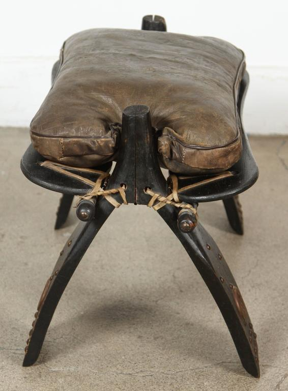 Camel Saddle Seat Footstool At 1stdibs