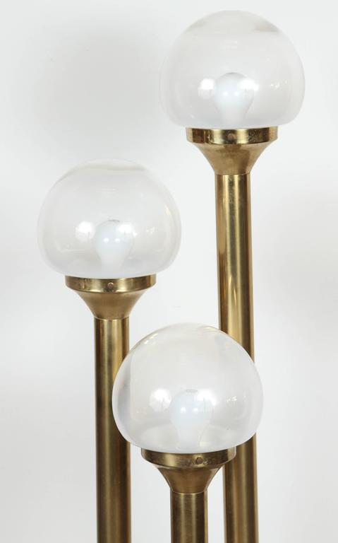 Italian Brass Three Globes Floor Lamp At 1stdibs