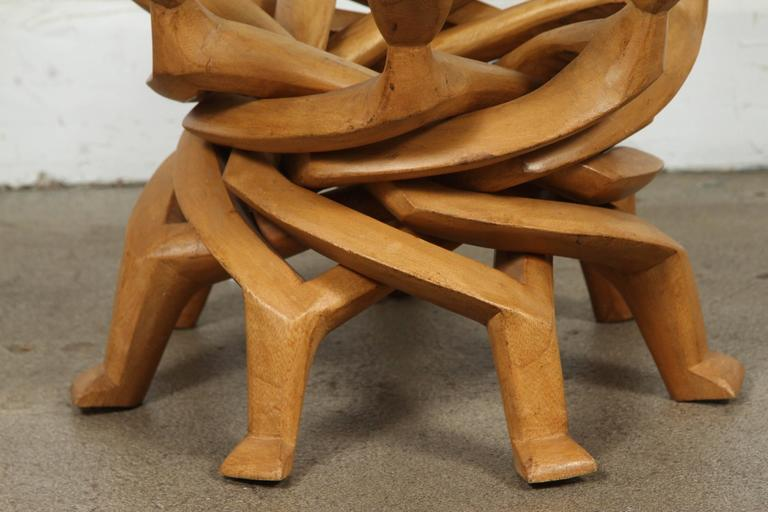 Ghanaian African Folding Tribal Glass Table For Sale