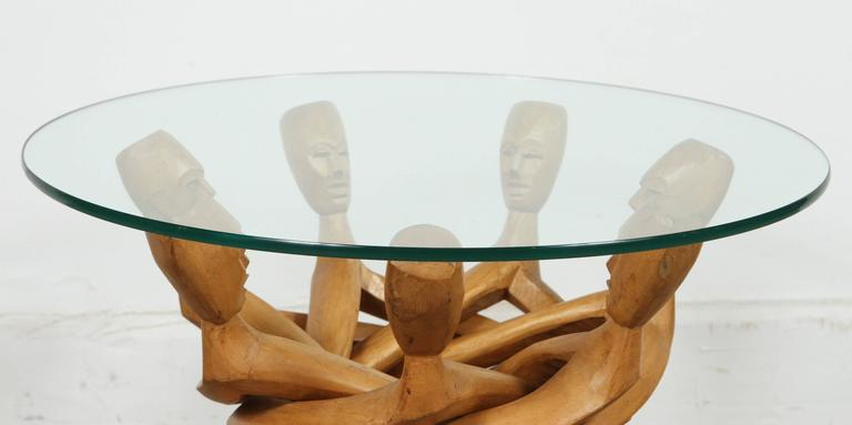 Hand-Crafted African Folding Tribal Glass Table For Sale