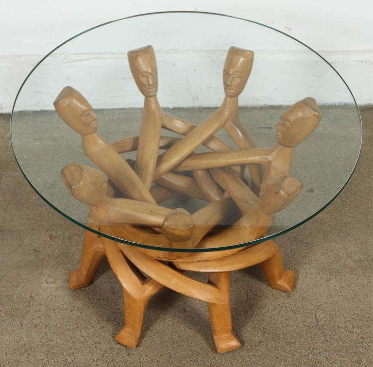 20th Century African Folding Tribal Glass Table For Sale