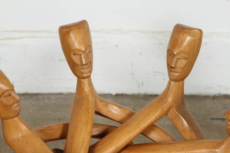 African Folding Tribal Glass Table For Sale 1