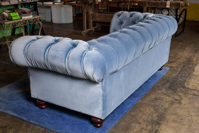 blue velvet chesterfield sofa by pitfield london for sale at 1stdibs