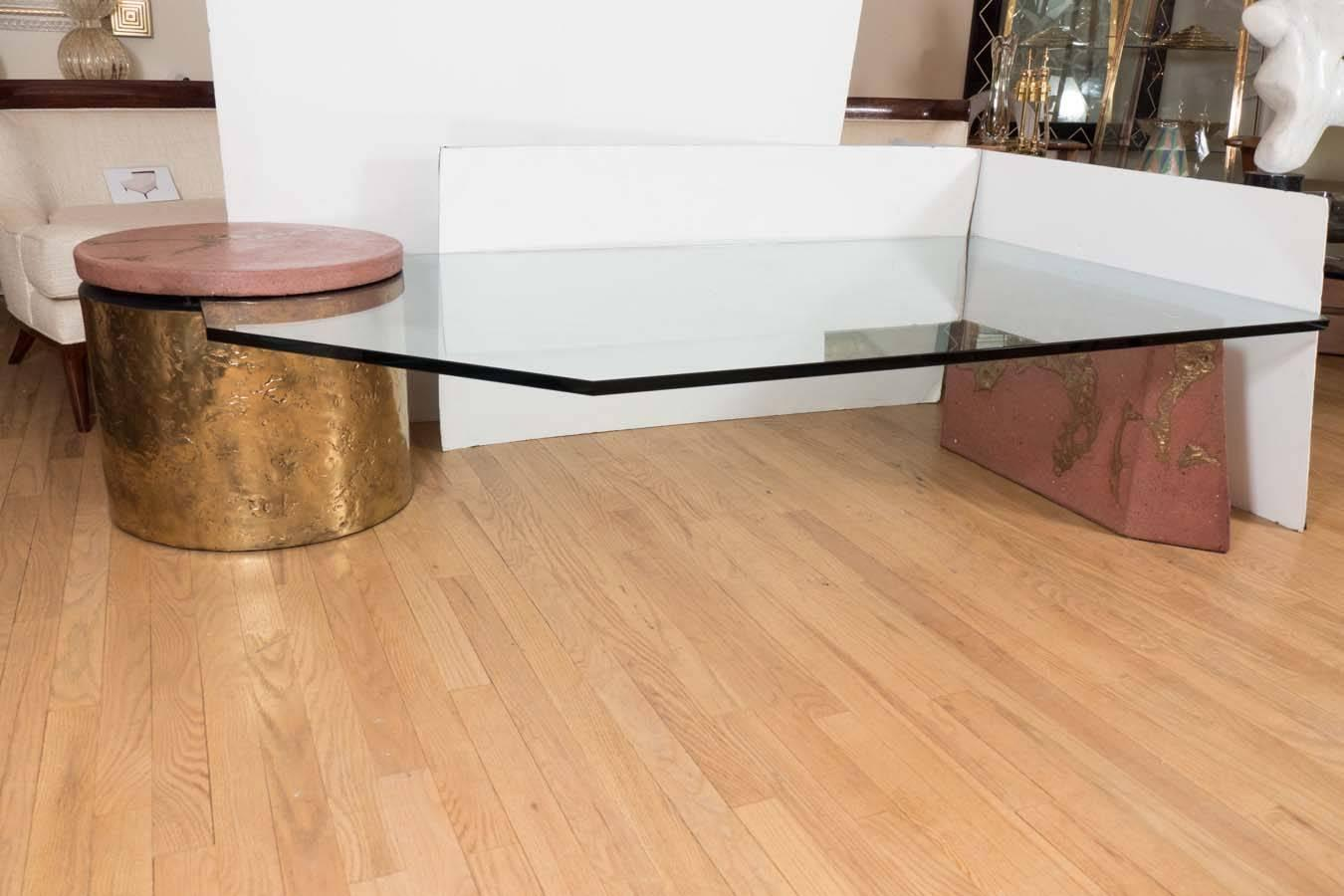 Three Part Bronze Travertine And Glass Coffee Table For
