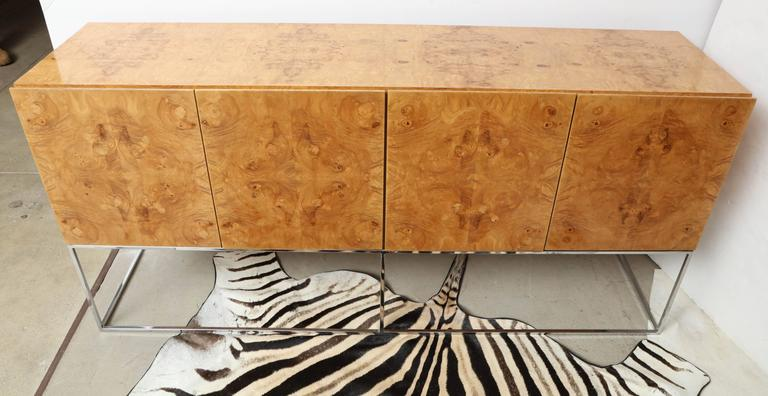 Chrome Side Board, by Milo Baughman for Thayer Coggin Credenza of Burl Olive Wood For Sale