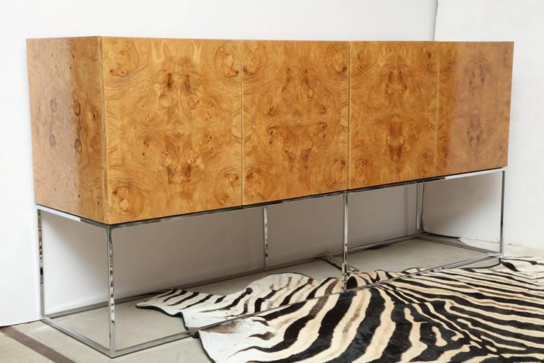 Side Board, by Milo Baughman for Thayer Coggin Credenza of Burl Olive Wood For Sale 2