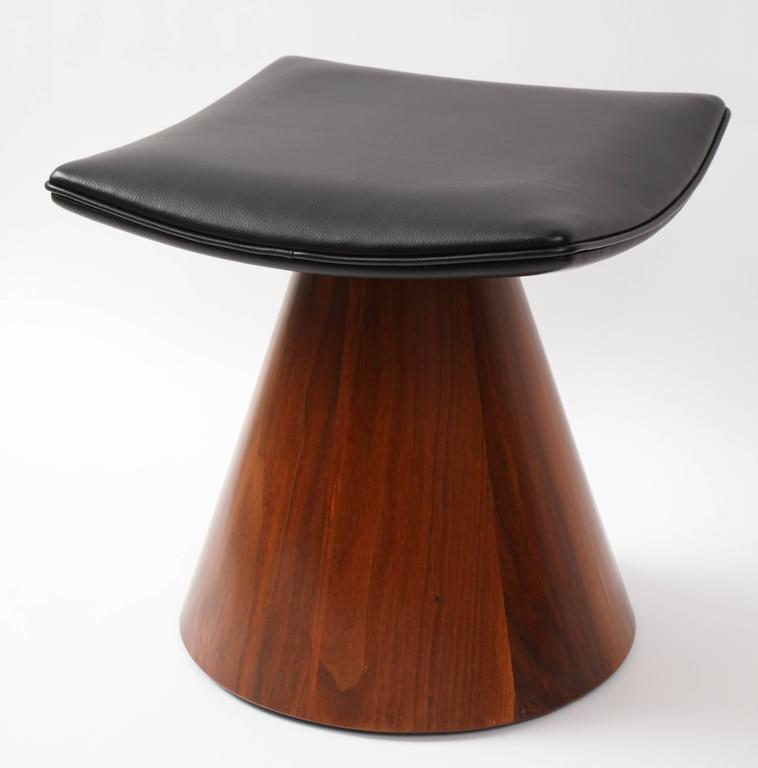 William Keyser's walnut and leather pedestal stools were commissioned by the  Women's Council of Rochester Institute of Technology in 1966. The Women's Council of RIT had been formed under the direction of Aileen Osborn Webb. They chose three