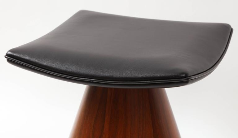 Modern William Keyser Walnut and Leather Pedestal Stools, 1969 For Sale
