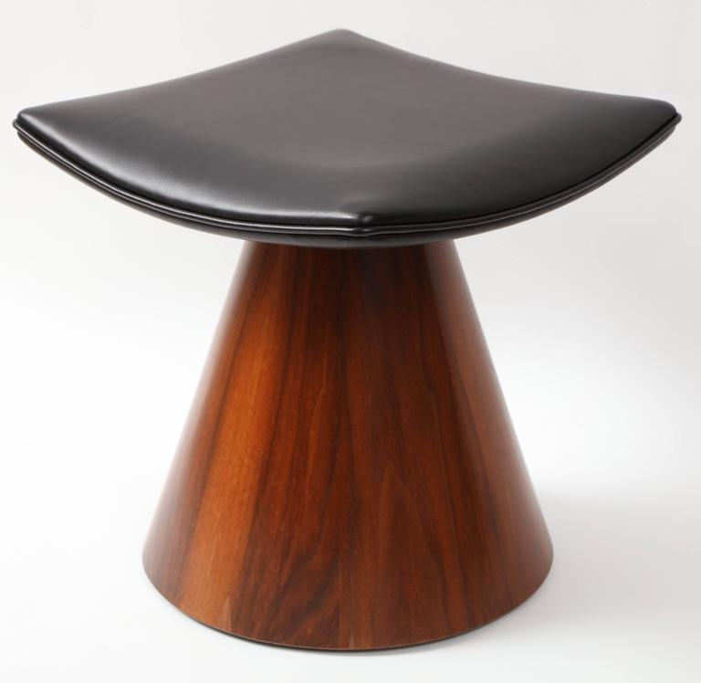 William Keyser Walnut and Leather Pedestal Stools, 1969 For Sale 1