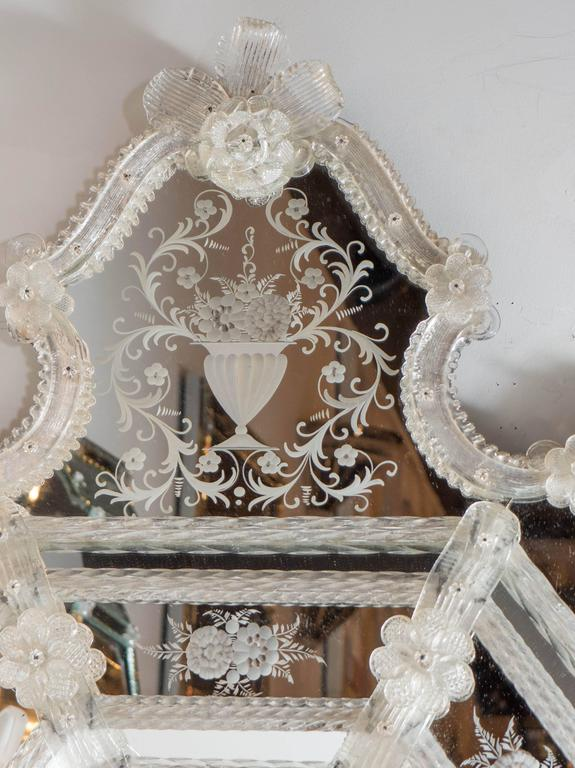 Italian Murano Venetian Mirror with Intricate Stylized Floral and Foliage Appliques For Sale