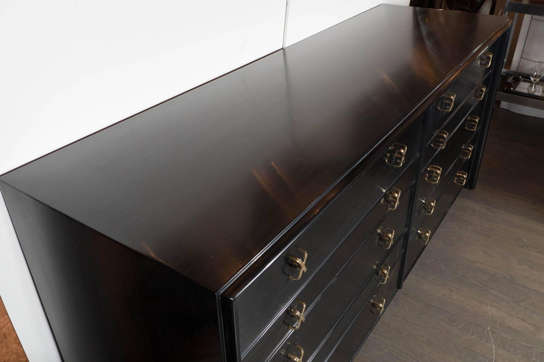 Ebonized walnut ten drawer dresser with brass quot x fittings