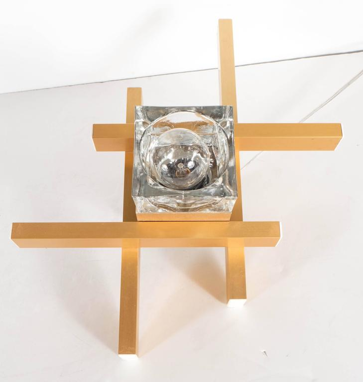 Late 20th Century Mid-Century Modernist Flush Mount Brass and Cubed Glass Fixture by Sciolari For Sale