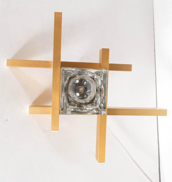 Mid-Century Modernist Flush Mount Brass and Cubed Glass Fixture by Sciolari For Sale 1