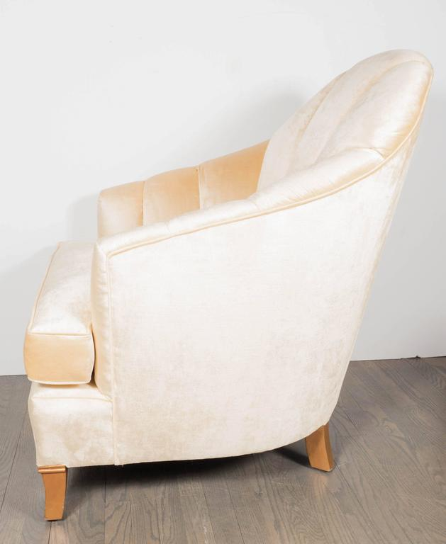 Mid-20th Century Elegant Pair of Channel-Back Art Deco Club Chairs in Cream Oyster Velvet For Sale