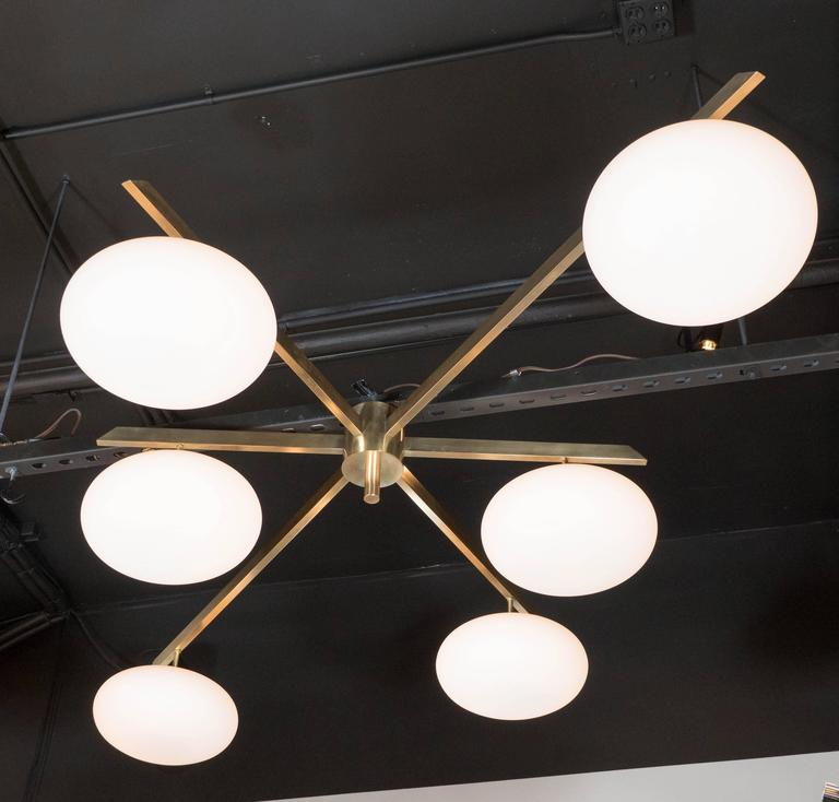 Mid-Century Modern Modernist Brass and Frosted Glass Six-Arm Globe Chandelier, Manner of Arredoluce