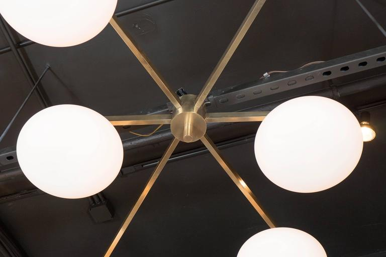 Modernist Brass and Frosted Glass Six-Arm Globe Chandelier, Manner of Arredoluce In Excellent Condition In New York, NY