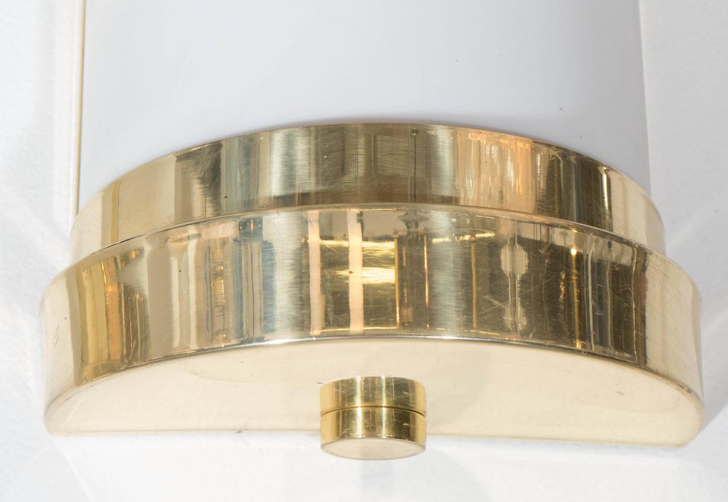Pair of cylindrical wall sconces in frosted acrylic and brass for sale at 1stdibs - Cylindrical wall sconce ...