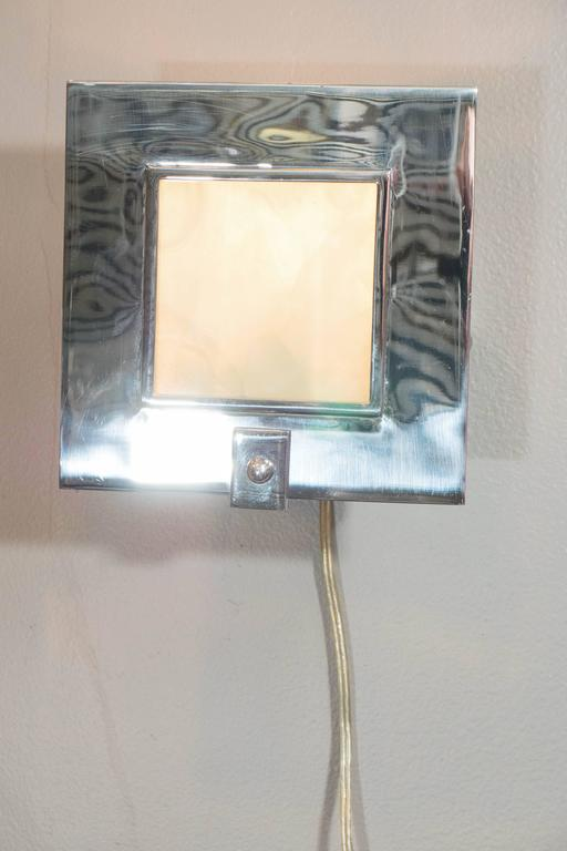 Pair Of Contemporary Chrome And Glass Square Sconces By
