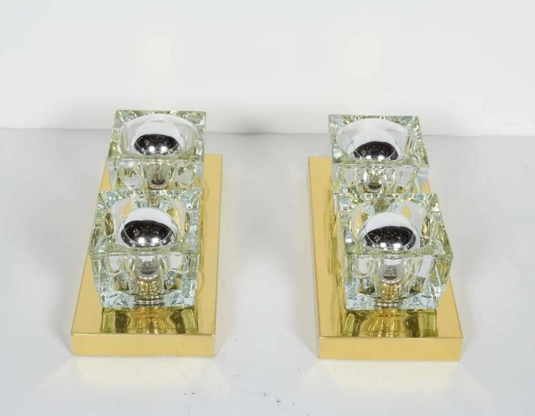 Italian Pair of Mid-Century Brass and Glass Sconces by Gaetano Sciolari  For Sale