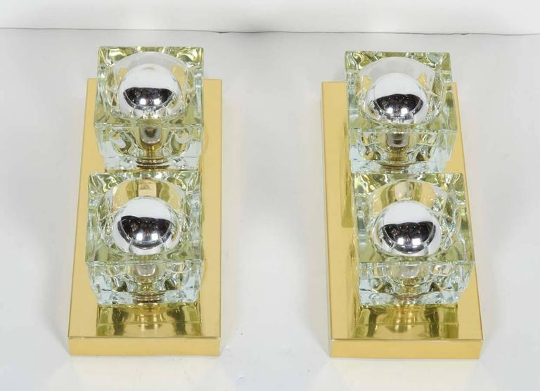 Mid-Century Modern Pair of Mid-Century Brass and Glass Sconces by Gaetano Sciolari  For Sale