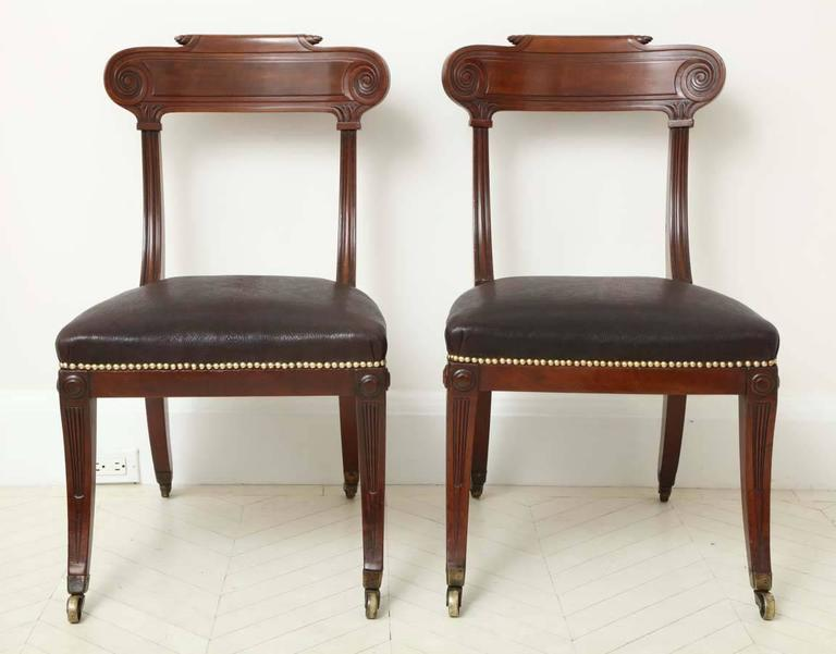 Pair of English Regency Mahogany Side Chairs 2