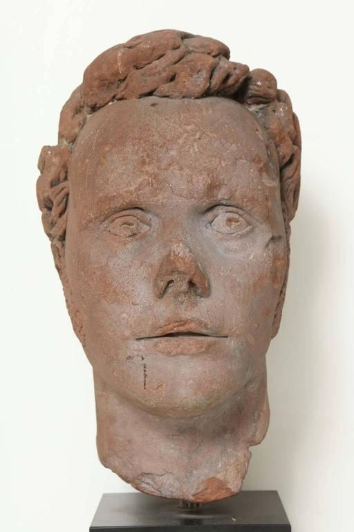 Early 19th Century Continental Carved Red Stone Bust 2