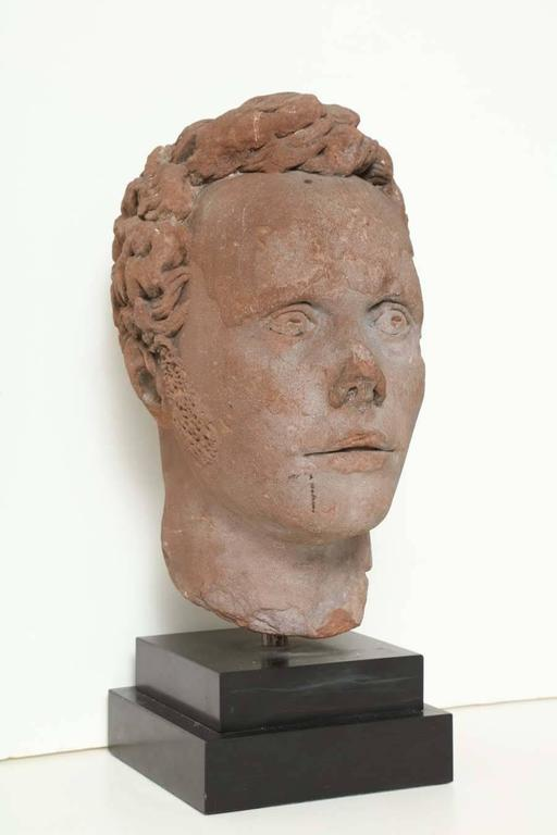 Early 19th Century Continental Carved Red Stone Bust 3