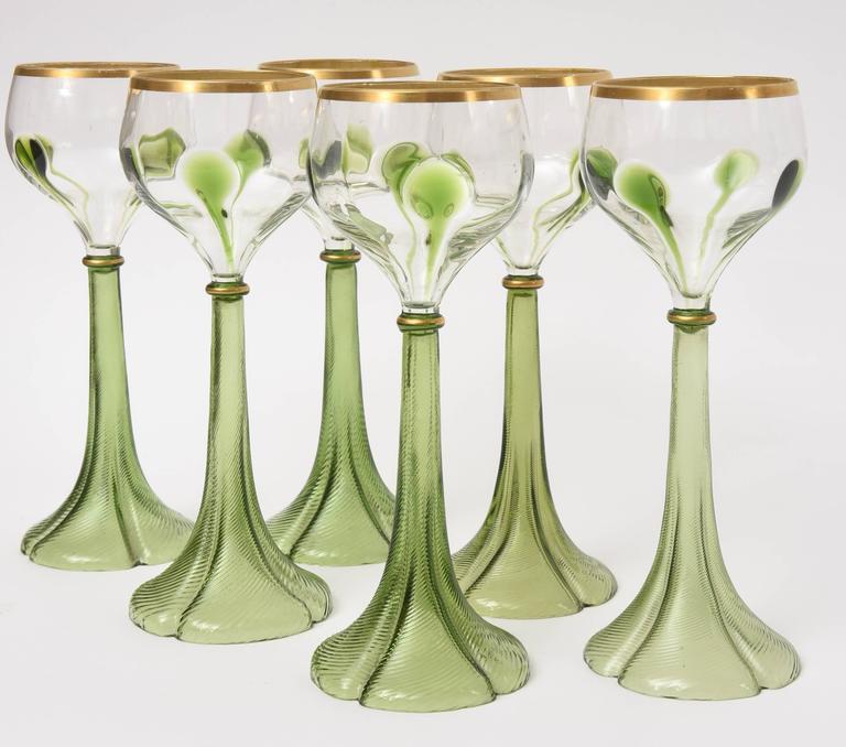Set Of Six Art Nouveau Moser Trumpet Base Green Gold White